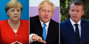 Angela Merkel, Boris Johnson och Emmanuel Macron. Arkivbilder. TT