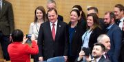 Socialdemokraternas partiledare Stefan Löfven (S) i kammaren inför statsministeromröstning i riksdagen. Jessica Gow/TT / TT NYHETSBYRÅN