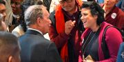 Michael Bloomberg (t v) HARRISON MCCLARY / TT NYHETSBYRÅN