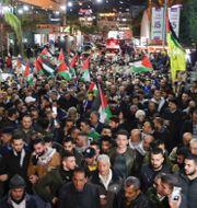 Palestinska protester mot Trumps plan.  AHMAD GHARABLI / AFP
