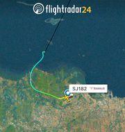 Flygplanets rutt – innan det försvann. TT NYHETSBYRÅN