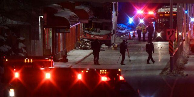 Olycksplatsen i Ottawa. Justin Tang / TT NYHETSBYRÅN