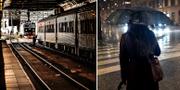 Arkivbild, tåg/kvinna i oväder. TT