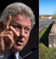 Arkivbild: Bill Clinton. Protestskyltar vid gränsen mellan Irland och Nordirland.  TT