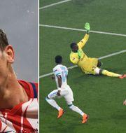 Antoine Griezmann gör 2–0 och firar. TT