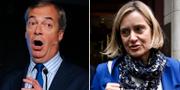 Brexitpartiets ledare Nigel Farage / Torypolitikern Amber Rudd. TT