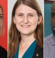 Hanna Cederin, ordförande Ung Vänster (t v), Jessica Ohlson, ordförande SDU (mitten), Rashid Musa, ordförande Sveriges Unga Muslimer (t h). TT/SDU/SVT