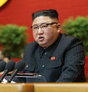 Kim Jong-Un under talet till kongressen.  TT NYHETSBYRÅN