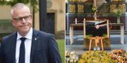 Förbundskaptenen Janne Andersson vid Lennart Johansson begravning. TT