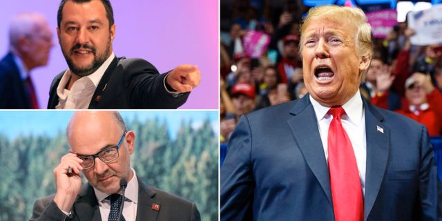 Matteo Salvini/Pierre Moscovici/Donald Trump. TT