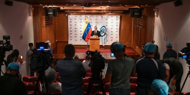 Pressträff igår där Venezuelas regering sa att ett misslyckats invasionsförsök genomförts. Matias Delacroix / TT NYHETSBYRÅN