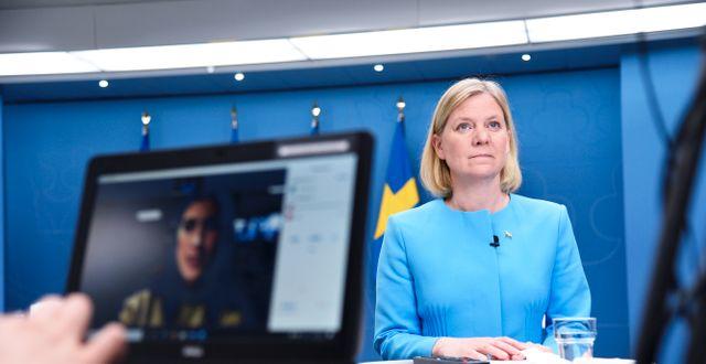Finansminister Magdalena Andersson vid tisdagens pressträff.  Marko Säävälä/TT / TT NYHETSBYRÅN