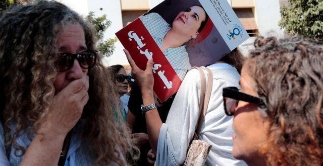 Demonstration för Hajar Raissouni. YOUSSEF BOUDLAL / TT NYHETSBYRÅN