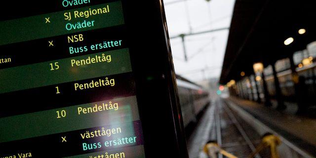 Tågförseningar.  Adam Ihse/TT / TT NYHETSBYRÅN
