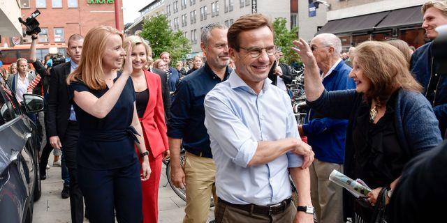 Arkivbild: Ulf Kristersson (M), Annie Lööf (C) och Jan Björklund (L). Här med Ebba Busch Thor (KD).  Stina Stjernkvist/TT / TT NYHETSBYRÅN