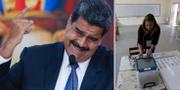 Nicolas Maduro samt en kvinna som förbereder inför dagens presidentval TT NYHETSBYRÅN