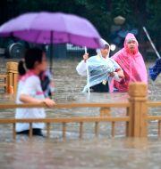 Folk vadar fram i vattenmassorna i staden Zhengzhou.  TT NYHETSBYRÅN