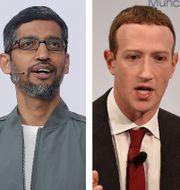 Amazons vd Jeff Bezos, Apples vd Tim Cook, Googles vd Sundar Pichai och Facebooks vd Mark Zuckerberg. Pablo Martinez Monsivais Evan Vucci Jeff Chiu Jens Meyer / TT NYHETSBYRÅN