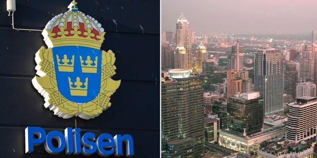 Arkivbild på polislogga och Bangkok. TT