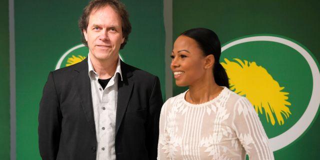 Pär Holmgren och Alice Bah Kuhnke toppar Miljöpartiets lista inför EU-valet.  Anders Wiklund/TT / TT NYHETSBYRÅN