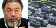 Ai Weiwei t.v. Kinesisk mobilisering vid gränsen till Honkong t.h. TT