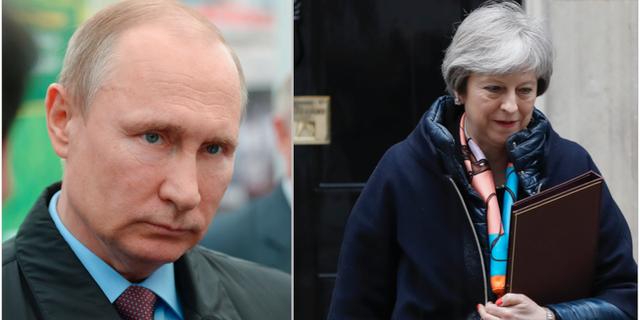 Vladimir Putin och Theresa May.  TT Nyhetsbyrån