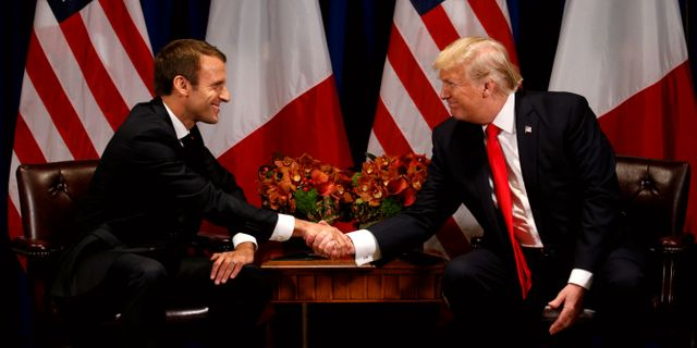 Macron och Trump möttes i New York i maj förra året. Kevin Lamarque / TT NYHETSBYRÅN