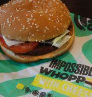 "Burger Kings veganska hamburgare ""Impossible whopper"". TT"