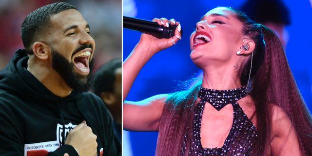 Drake och Ariana Grande. TT