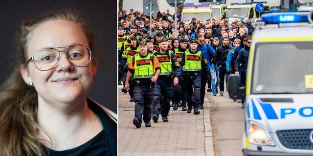 Sofia Bohlin/polis med Djurgårdssupportrar tidigare i maj. Bildbyrån