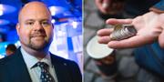 Kristdemokraternas partisekreterare Peter Kullgren samt en bild på en hand med mynt i. Arkivbilder. TT
