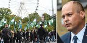 Bild från demonstrationen i Göteborg och Morgan Johansson (S). TT