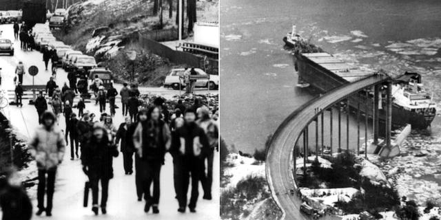 Fartyget Star Clipper kör in i Almöbron mellan Tjörn och fastlandet på natten den 18 januari 1980. SvD / TT