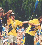 Stefan Rehn, Tomas Brolin och Anders Glenmark i Rålambshovsparken, Stockholm, juli 1994. Anders Wiklund/TT / TT NYHETSBYRÅN
