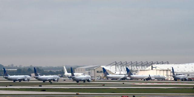 Arkivbild: 737 Max-plan från United Airlines i Houston. Loren Elliott / TT NYHETSBYRÅN