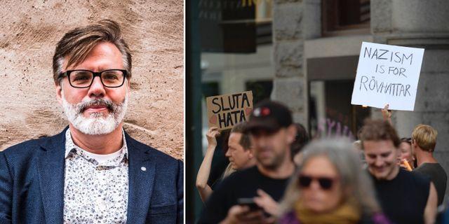 Christer Mattson, motdemonstranter vid NMR:s demonstration i Stockholm i slutet av augusti.  TT