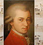 Porträtt av Mozart samt illustrationsbild från en komposition. TT