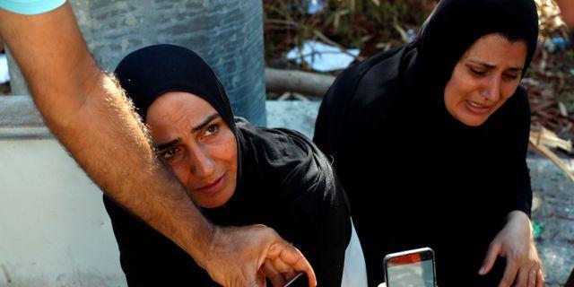 Anhöriga till en saknad efter explosionen i Beirut. Thibault Camus / TT NYHETSBYRÅN