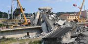 Bron i Genua kollapsade i tisdags i förra veckan. 43 personer omkom. TT
