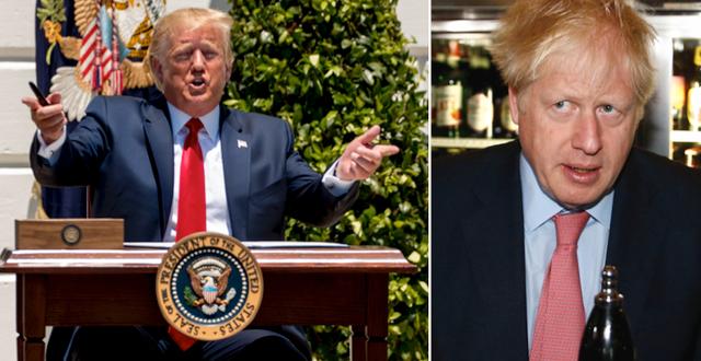 Donald Trump under sin pressträff igår och Boris Johnson.