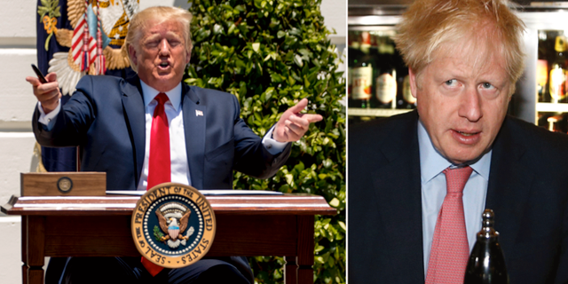 Donald Trump under sin pressträff i går och Boris Johnson.