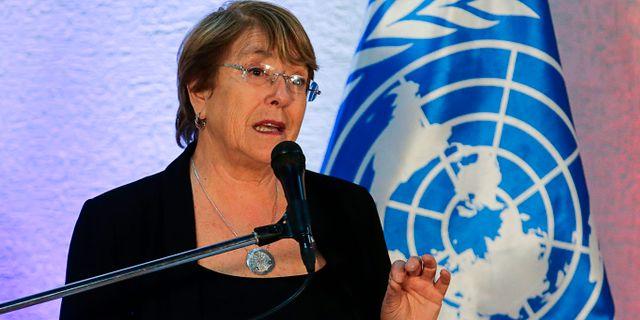 Michelle Bachelet, FN:s högkommissarie för mänskliga rättigheter. CRISTIAN HERNANDEZ / AFP