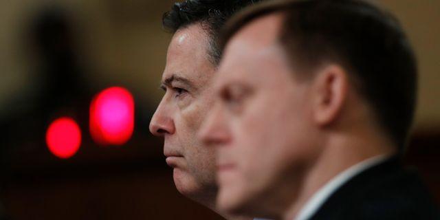 NSA-chefen Michael Rogers (till höger) och FBI-chefen James Comey (till vänster) under utskottsförhören tidigare i veckan. Manuel Balce Ceneta / TT / NTB Scanpix