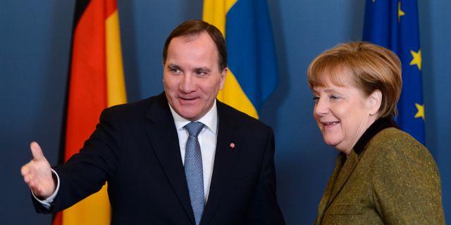 Löfven och Merkel. Arkiv.  Henrik Montgomery/TT / TT NYHETSBYRÅN