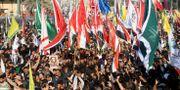 Begravningsföljet i Basra, Irak för Abu Mahdi al-Muhandis. Han dödades samtidigt som Soleimani. ESSAM AL-SUDANI / TT NYHETSBYRÅN