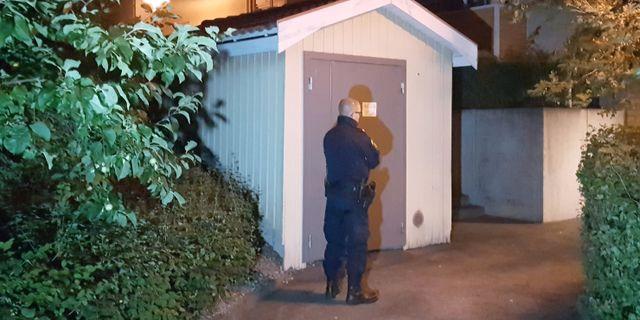Polis vid brottsplatsen i Fagersta. Torbjörn Wåhlin/TT / TT NYHETSBYRÅN