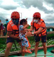 Evakueringar i Camarines Sur i östra Filippinerna. TT NYHETSBYRÅN