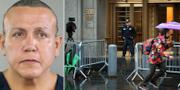 Cesar Sayoc/polis vaktar ingången till domstolen i New York. TT