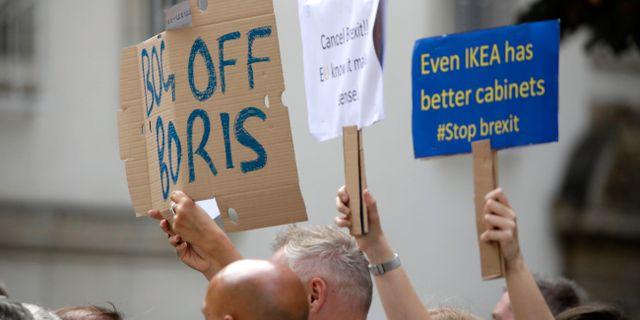 Anti-brexitdemonstrationer utanför möteslokalen där Johnson och Xavier träffades idag. Olivier Matthys / TT NYHETSBYRÅN