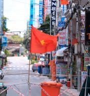 En gata i Vietnam är blockerad på grund av lockdown Hau Dinh / TT NYHETSBYRÅN